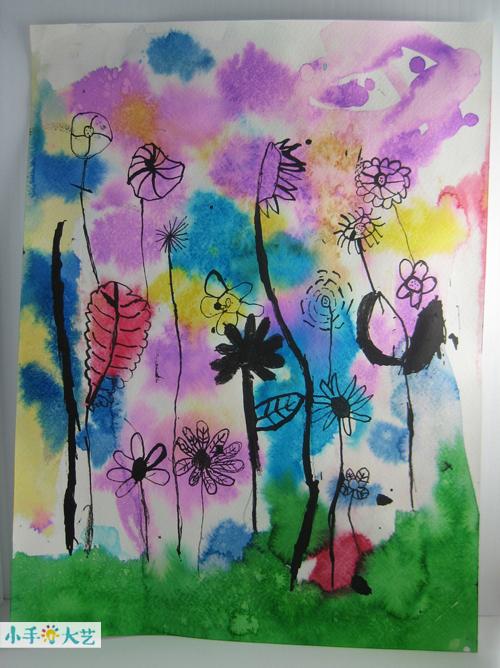 儿童水彩画--春天的花园